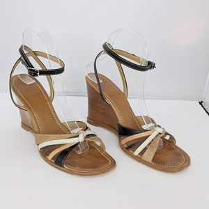 Coach leather Wedge Sandals Brown Women 9